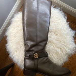 Tory Burch riding boots in brown leather